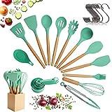Set de utensilios para cocinar con cabeza de silicona, mango de madera y recipiente de madera (23 piezas + ganchos colgantes extra) - Set de utensilios de cocina - Verde