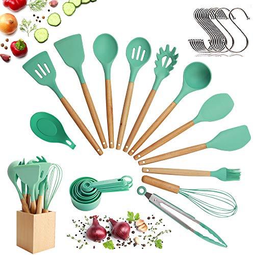 Set de utensilios para cocinar con cabeza de silicona, mango de madera y recipiente de madera 23 piezas...
