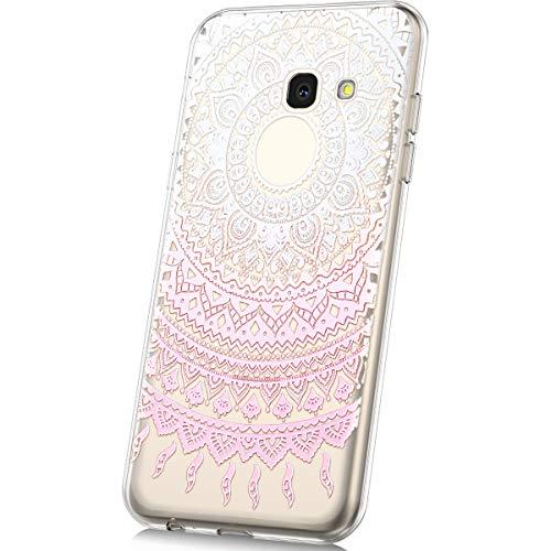 Kompatibel mit Galaxy J4 Plus Hülle,Galaxy J4 Plus Silikon Hülle Bunte Gemalt Muster TPU Silikon Schutz Handy Hülle Handytasche Schutzhülle Case Etui Für Galaxy J4 Plus- Rosa Blumen