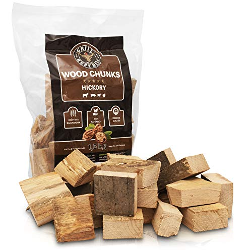 Grill Republic Smoker Chips Hickory für kräftiges Raucharoma/Wood Chips Sortenrein/Räucherchips mit Premium Qualität - 1,5kg -