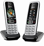 Gigaset C430HX Duo Telefon - 2 Schnurlostelefone / Mobilteile - mit TFT-Farbdisplay - für DECT / CATiq Router - VoIP - Router kompatibel - Grosse Tasten - IP Telefon - Schwarz