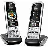 Gigaset C430HX Duo - DECT-Telefon -  IP Telefon Fritzbox kompatibel - Schnurlos Telefon - 2 Universal-Mobilteile mit TFT-Farbdisplay - VOIP schnurlos Telefone, schwarz-silber