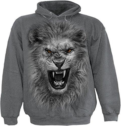 A spirale, da ragazzo, motivo: leone tribale Kids-Felpa con cappuccio carbone Charcoal L