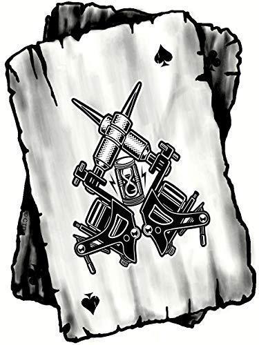 B&w Ass Spielkarten Design mit Old School Tattoo Waffe Tätowierer Motiv Vinyl Auto Aufkleber 100x75mm (Spielkarten Waffen)