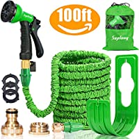 "Suplong Expandable Garden Water Hose Pipe - 100FT Magic Expanding Hose with 3/4"" to 1/2"" Brass Fittings Valve 8 Function Spray Gun Nozzle Wall Holder"