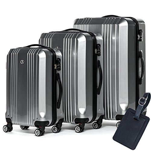 FERGÉ Kofferset Hartschale 3-teilig + 1x Anhänger Cannes Trolley-Set mit Handgepäck 55 cm 3er Set Hartschalenkoffer Roll-Koffer 4 Rollen Silber
