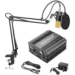 Neewer NW-800 Kit de Micrófono de Condensador de Oro - Fuente de Alimentación Negra 48V Phantom, Soporte de Brazo de Tijeras de Auge NW-35 con Montaje de Choque y Filtro de Estallido, Cable XLR