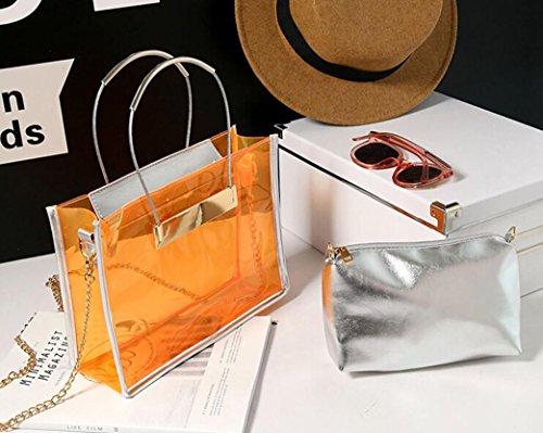 Longra Donna Sacchetto trasparente della borsa della spalla del sacchetto della spiaggia di colore della caramella della gelatina della catena del sacchetto trasparente Arancione
