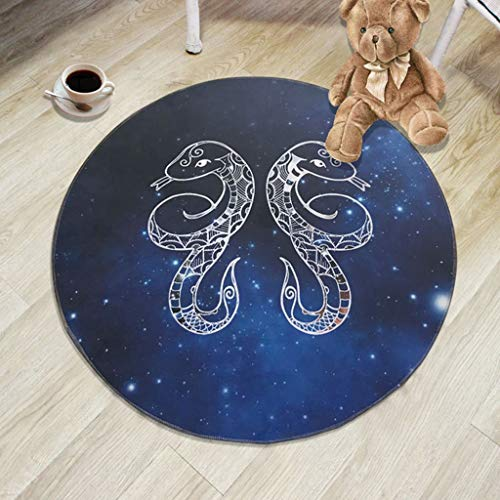 Jian E- Teppich Runde Stuhlmatte Zwölf Konstellationen Teppich Schlafzimmer Wohnzimmer rutschfest waschbar Harte tragende Barriere-Matte (Farbe : Gemini, größe : 60cm)