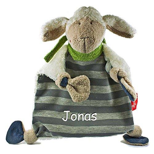 Sigikid Schmusetuch medium mit Namen bestickt Baby Geschenk zur Geburt Schnueffeltuch Semmel Bunny Schnuggi Rainbow Rabbit Lolo Lombardo Bungee Bunny Frosch Ele Bele Schaf Schön Gisella Goose Fudallo Fox Wombel Bombel (Schaf Schön)