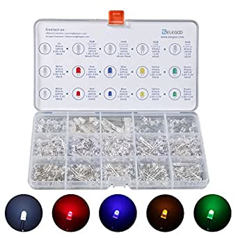 ELEGOO 3mm et 5mm Diffusé et Transparent le Kit LED Diode Electro Luminescente Assorti 5 Couleurs avec UV, RGB CA CC, Clignotement Flash Rapide LENT pour Arduino (Pack de 350)
