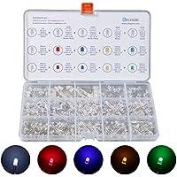 Elegoo 3mm et 5mm Diffusé et Transparent le Kit LED Diode Electro Luminescente Assorti 5 Couleurs avec UV, RGB CA CC, Clignotement Flash Rapide LENT pour Arduino (Pack de 350)