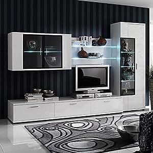 loftscape Ensemble de meubles TV Corana II (4 éléments) - Blanc brillant - Sans éclairage