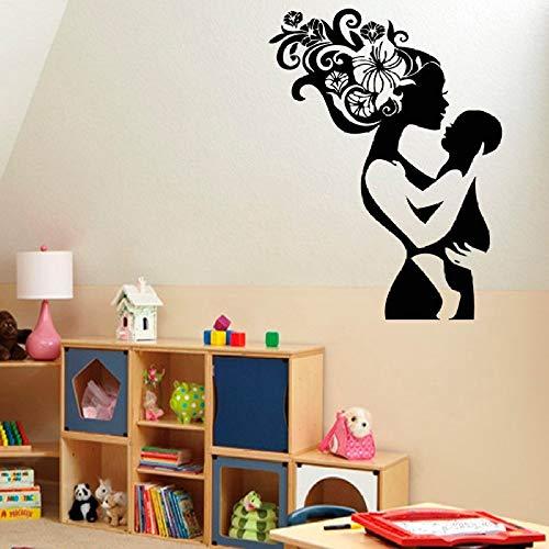 cksccksc Wandtattoo Vinyl Aufkleber Mädchen Mutter Mutter mit Baby Kind Wanddekoration Spielzimmer Poster Papier schwarz 42X56CM (Hercules Kinder Buch)