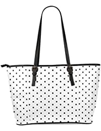 InterestPrint White And Black Polka Dot Women's PU Leather Tote Shoulder Bags Handbags