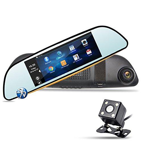 """Espejo Retrovisor para Coche - Junsun 6.86"""" GPS Navegador de la Rociada Cam HD 1080P de 160°Doble Lente de la Cámara Coche con Cámaras de visión trasera 16GB"""