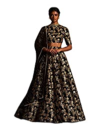 Fabron Black sequins embellished raw silk lehenga choli & dupatta set.