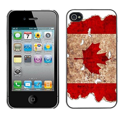 "Graphic4You Quebec ""La Belle Province"" Flagge Design Harte Hülle Case Tasche Schutzhülle für Apple iPhone 4 und 4S Design #4"