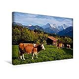 Calvendo Premium Textil-Leinwand 45 cm x 30 cm Quer, Schweizer Kühe | Wandbild, Bild auf Keilrahmen, Fertigbild auf Echter Leinwand, Leinwanddruck: Vor Eiger, Mönch und Jungfrau Natur Natur