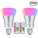 RGBW Colour Bulbs 10W, Netboat E27 Dimmable Colour Changing LED Light Bulb Edison Screw Lighting with Remote Control, Perfect for Home Bar Party Decoration Ambiance Lighting Mood Light(2 Pack)
