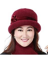 Medio - sombrero anciana madre caliente de las lanas del casquillo del sombrero del invierno del casquillo del casquillo del invierno ( Color : A )
