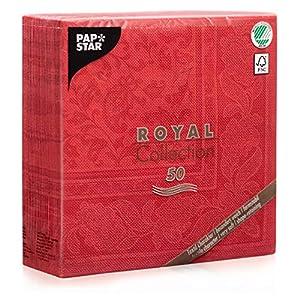 "Papstar Servietten / Tissueservietten rot ""Royal Collection"", ""Ornaments"" (50 Stück) 40 x 40 cm, 1/4-Falz, für Gastronomie, Haushalt oder Feste, FSC-zertifiziert, Stoffoptik, #11667"