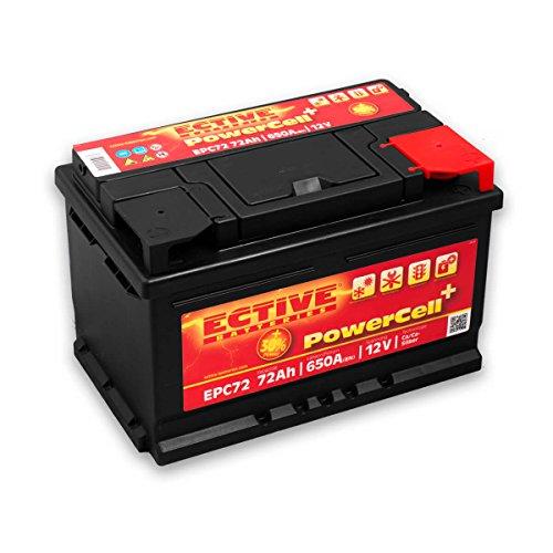 EPC-Serie | 12V 72Ah Autobatterie 650A | 8 Varianten: 46Ah - 100Ah | Wartungsfreie 12 Volt Blei Säure Starterbatterie für Auto und KFZ | Nassbatterie Nass Batterie Akku zum Starten
