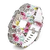 Woodln Reloj Inteligente Ajustable Banda Correa de Silicona Reemplazo de Banda para Fitbit Blaze (Color Flower)