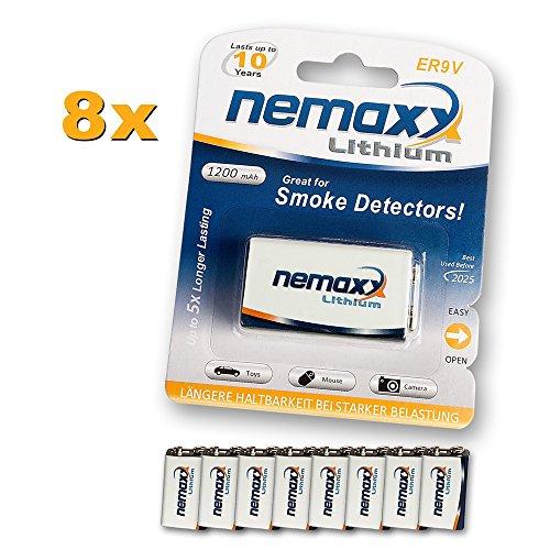 8x Nemaxx Lithium 9V Block Batterie Set für Rauchmelder 10 Jahre Lebensdauer (Batterie Rauchmelder Betrieben)