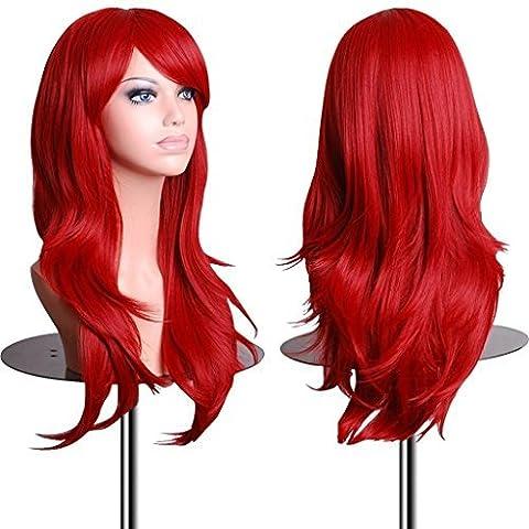 EmaxDesign 70 cm haute qualité Perruque Cosplay Pour femmes. Long Complète bouclé ondulé Chaleur résistant. (Lunga Parrucca Cosplay)
