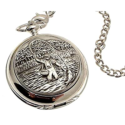 Solid Pewter Fronted Quartz Pocket Watch - Fly Fishing Design 27 from AEW