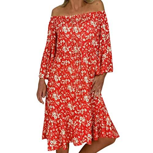 Damen kleid,Jessboy Frauen lösen Druck weg von der Schulter-Handgelenk-Aufflackern-Hülsen-beiläufigen Feiertags-Kleidern (Von Lila Kleid Schulter Der)