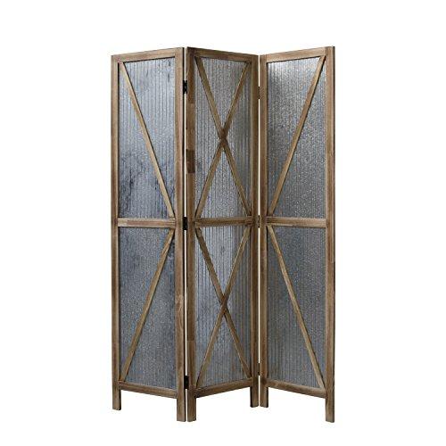 Homestyle4u 1867, Paravent Raumteiler 3 teilig, Holz Metall, Braun, 170 cm Höhe