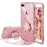 OCYCLONE Funda para iPhone 7 Plus/8 Plus,Purpurina Ultra Slim Soft TPU Fundas con Dimantes Anillo Movil Protector iPhone 7 Plus/8 Plus para Mujer,Oro Rosa