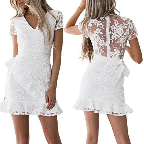 Weant abiti donna, abito vestito donna Gonna corta elegante abito pizzo bianco balze dress donna estate veste Cocktail vestito senza maniche party vestito mini vestito abito sera