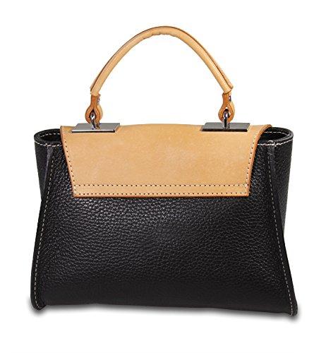 IO.IO.MIO CUTIE kleine echt leder Damentasche freie Farbwahl , 22x15x9 cm (B x H x T) Schwarz
