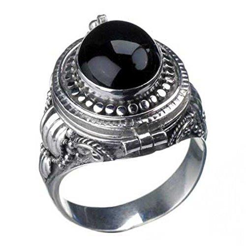 Silver Ring Veleno con onice, argento 925, gotico - 56