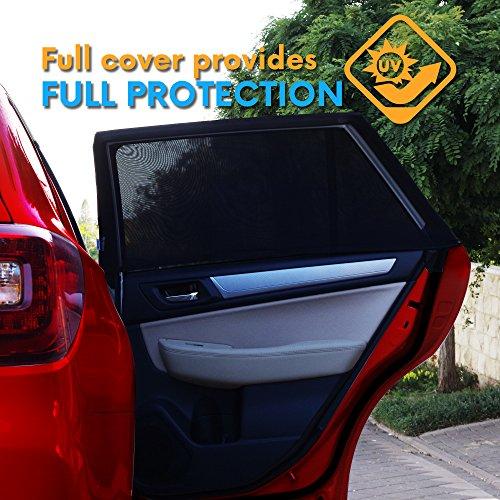 UNIVERSAL FIT FENÊTRE LATÉRALE DU SOLEIL - Protégez vos bébés et vos enfants des UV jusqu'à 98% | Easy Fit | S'adapte à tous les modèles (99%) | Pack 2 + E-BOOK VOYAGE INCLUS
