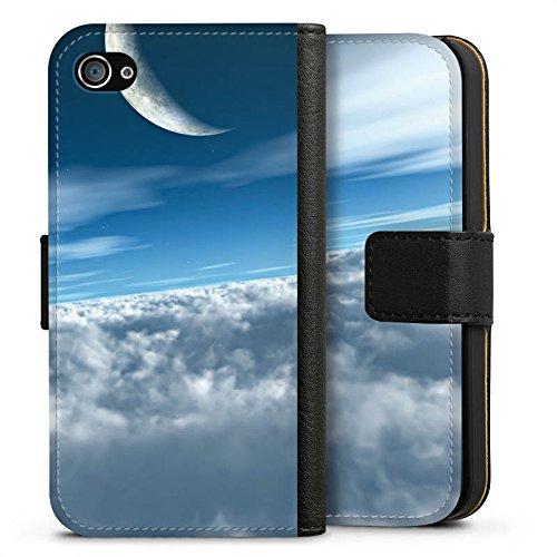 Apple iPhone X Silikon Hülle Case Schutzhülle Himmel Mond Wolken Sideflip Tasche schwarz