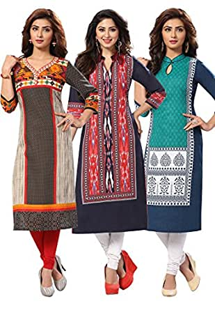 Salwar Studio Women's Cotton Dress Material (OM-0020963_Free Size_Black & Red ; Navy Blue & Red ; Green & Navy Blue)