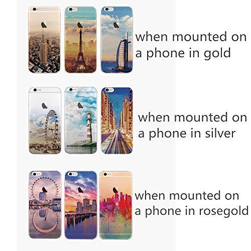 Jinberry Colorate Custodia Protettiva in TPU Morbida per iPhone6 (4.7) Dipinto Ultrasottile 0.5mm Case Back Cover con Protezione Tappi Polvere Apple iPhone 6 - Faro Lago Specchio
