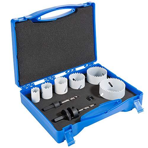 Arebos Lochsägen Set 9-teilig / 22, 29, 35, 44, 57 und 68 mm/HSS Bi-Metall/Für Holz, Metall, Kunststoff/Im Koffer