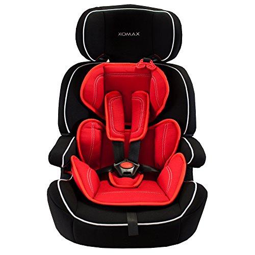 XOMAX XM-K5 RED BLACK Autokindersitz + Gruppe I / II / III (9 - 36 kg) + ECE R44/04 geprüft + Farbe: Schwarz / Rot + mitwachsend + 5-Punkte-Sicherheitsgurt + Kopfstütze verstellbar + Rückenlehne abnehmbar / Bezüge abnehmbar & waschbar