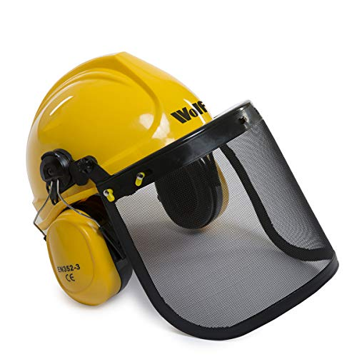 Wolf Safety Hard Hat Combination Helmet Set with Protective Ear Defender Guard and Face Visor EN352-3 EN397 EN1731