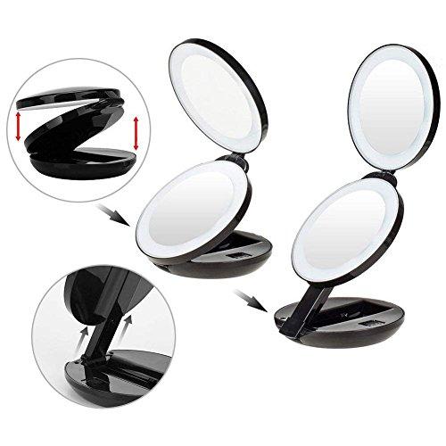 Make-up Spiegel faltbar Kompakte Reise doppelseitig Hand vergrößert True View mit 8LED Lampen Lupe doppelseitig Vergrößerung Swivel Vanity Kosmetik für Rasur und Gesichtspflege rund -