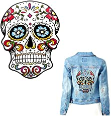 TOTAL HOME: Skull Embroidered Patch Applique Heat Transfer Stickers T Shirt Printing Sewing On Patches Patchwork Sewing Accessories