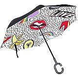 Little Yi Ombrello invertito Ombrello inverso Scarpa con Tacco Arcobaleno Labbro Vomito Nuvola Ombrello da Viaggio Comico