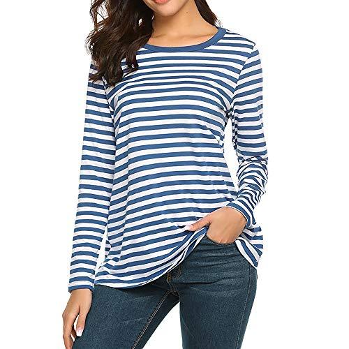 Betty Kostüm Teen - iHENGH Damen Sommer Top Bluse Bequem Lässig Mode T-Shirt Blusen Frauen Langarm Rundhals Basic T-Shirt Gestreifte Hemden Tunika Top Bluse(Blau, L)