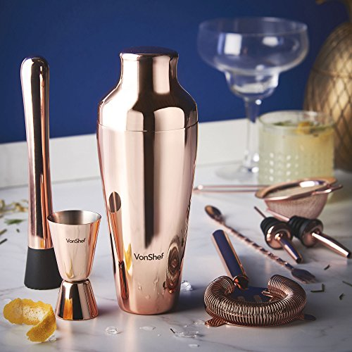 comprare on line VonShef Set shaker per cocktail Parisian ramato di alta qualità in confezione regalo con libro di ricette e accessori prezzo