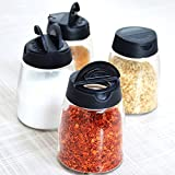 Hineway Double Lid Seasoning Box Barbecue Spice Jar Condiment Bottles Pepper Shakers Kitchen Supplies ( 2 Piece, Black)